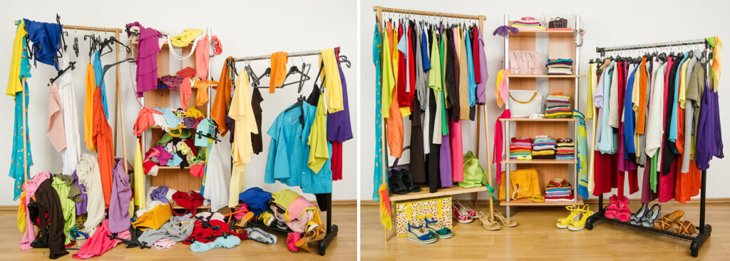 wardrobe of colourful clothes messy before tidy after